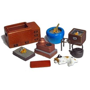 火鉢セット(関東型の長火鉢・陶製火鉢・木製の角火鉢など)  traditional Japanese heating devices set   1/35[RUR-M-14]【セール対象外】 miniature-park