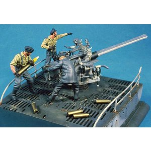 ドイツ海軍 Uボート VII C 主砲と乗員(3体入)  Type VII C U-Boat Deck Gun and Crew   54mm(1/32)|miniature-park
