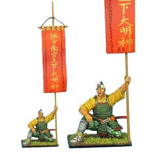 武田の旗印(諏訪大明神)を持つサムライ Samurai Standard Bearer - Takeda Clan War Banner 60mm[SAM035] miniature-park