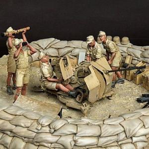 ドイツ軍 アフリカ軍団 Flak38 2cm高射砲クルーセット(5体入)  DAK Crew for 2 cm Flak 38 5 figures  1/35[SOGA-35SET11]【返品・返品不可】|miniature-park