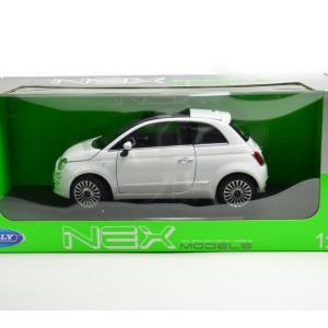 フィアット 500 Fiat500 ホワイト ミニカー 完成品 WELLY  Scale 1/18 ...