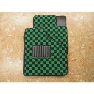 グリーン×ブラック フロアマット 左右兼用|minimaruyama