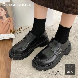ローファー レディース 靴 シューズ レザー調 合皮 厚底 履きやすい 韓国風 人気 クラシック 可...