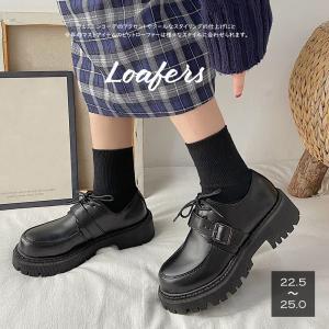 ローファー ドレスシューズ レディース 靴 合皮 厚底靴 編み上げ ローヒール 韓国風 歩きやすい