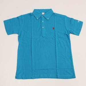 ミント刺繍入りポロシャツ ターコイズブルー|minkara