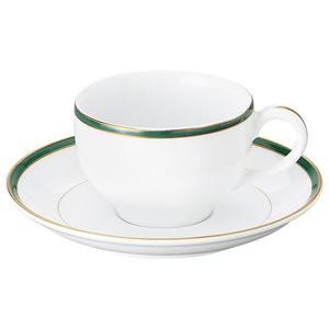 UDE ウルトラホワイトラインカラーグリーン 紅茶碗皿 洋食器 カップ&ソーサー 紅茶 業務用 約8.5cm|minnano-souko