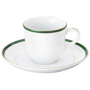 UDE ウルトラホワイトラインカラーグリーン コーヒー碗皿 洋食器 カップ&ソーサー コーヒー 業務用 約7.5cm|minnano-souko