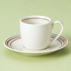 キャラメルラインコーヒー碗皿 和食器 コーヒー碗・受皿 業務用 約9.8cm|minnano-souko