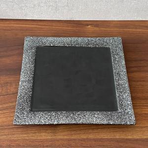 角皿 プレート おしゃれ 食器 ブラックシルバープレート 17.5cm アウトレット|minopota