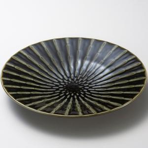 お皿 プレート おしゃれ 丸皿 竹林織部 グリーン 30cm 盛皿 大皿 ランチ 食器 陶器|minopota
