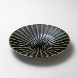お皿 プレート おしゃれ 丸皿 竹林織部 グリーン 19.7cm 取り皿 盛皿 食器 陶器 中皿|minopota