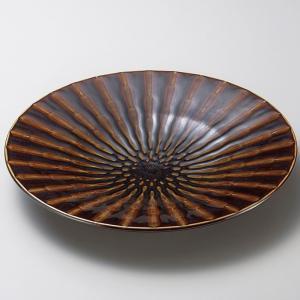 お皿 プレート おしゃれ 丸皿 竹林アメ ブラウン 30cm 盛皿 大皿 ランチ 食器 陶器|minopota