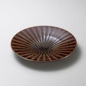 お皿 プレート おしゃれ 丸皿 竹林アメ ブラウン 19.7cm 取り皿 盛皿 食器 陶器 中皿|minopota