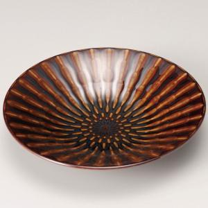 お皿 プレート おしゃれ 丸皿 浅鉢 竹林アメ ブラウン 24.8cm 盛皿 大皿 ランチ 食器 陶器|minopota