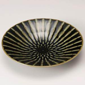 お皿 プレート おしゃれ 丸皿 浅鉢 竹林織部 グリーン 24.8cm 盛皿 大皿 ランチ 食器 陶器|minopota