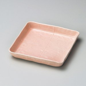 皿 取り皿 プレート 角皿 おしゃれ ピンク取皿 13.5cm 盛皿 四角皿 食器 うつわ 陶器|minopota
