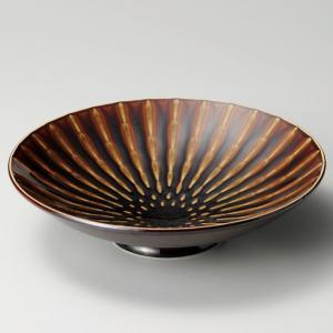 鉢 ボウル 大鉢 盛鉢 おしゃれ 丸鉢 竹林アメ 高台 28.3cm 食器 陶器 ボール 丼|minopota
