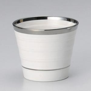 フリーカップ コップ 酒器 おしゃれ シルバー ホワイトコップ 白 300cc 食器 陶器 タンブラー グラス|minopota