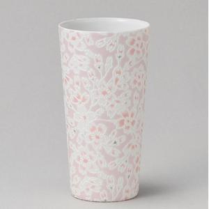 フリーカップ コップ 酒器 おしゃれ うすかる 桜ピンク ロングカップ 380cc 食器 陶器 タンブラー グラス|minopota