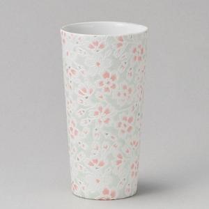 フリーカップ コップ 酒器 おしゃれ うすかる 桜ヒワ ロングカップ 380cc 食器 陶器 タンブラー グラス|minopota