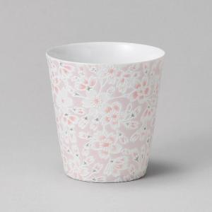 フリーカップ コップ 酒器 おしゃれ うすかる 桜ピンク カップ 390cc 食器 陶器 タンブラー グラス|minopota