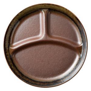 ランチプレート お皿 仕切り 強化磁器 南蛮織部 三つ仕切 大 26.4cm ワンプレート キッズ 食器 陶器|minopota