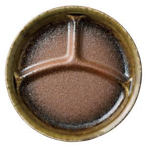 ランチプレート お皿 仕切り 強化磁器 南蛮織部 三つ仕切 小 22cm ワンプレート キッズ 食器 陶器|minopota