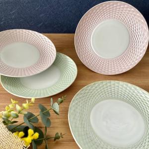丸皿 プレート ダイヤカット21cm皿 おしゃれ 食器 うつわ 陶器 美濃焼|minopota