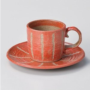 コーヒーカップ ソーサー おしゃれ 珈琲 彫十草 赤コーヒー碗皿セット minopota