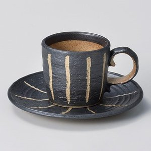 コーヒーカップ ソーサー おしゃれ 珈琲 彫十草 黒コーヒー碗皿セット minopota