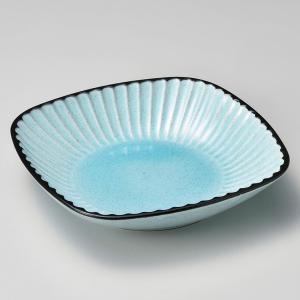 鉢 ボウル 盛鉢 おしゃれ ボール 黒土化粧 しのぎ6.5角鉢 ブルー 19.5cm 深皿 盛皿 お皿 食器 陶器|minopota