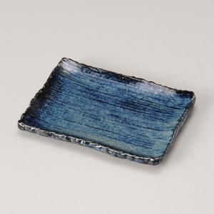 お皿 プレート おしゃれ 四角皿 盛皿 藍渕厚千筋 16.5cm 取り皿 食器 陶器 和風 minopota