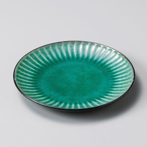 お皿 プレート おしゃれ 丸皿 黒土しのぎ グリーン 15.8cm 取り皿 盛皿 食器 陶器 中皿|minopota