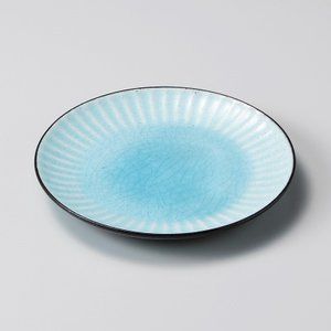 お皿 プレート おしゃれ 丸皿 黒土しのぎ ブルー 15.8cm 取り皿 盛皿 食器 陶器 中皿 minopota