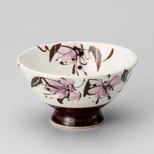 飯碗 茶碗 おしゃれ ごはん アメ釉花紋 11.8cm ご飯 めし碗 丼 どんぶり ボウル 食器 陶器|minopota