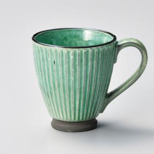 マグカップ おしゃれ カフェ 黒土化粧しのぎマグ グリーン 250cc minopota