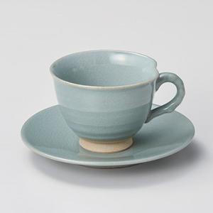 コーヒーカップ ソーサー おしゃれ 珈琲 青磁貫入 コーヒー碗皿セット minopota