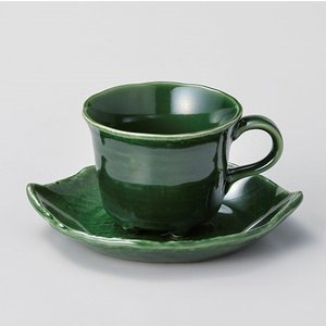 コーヒーカップ ソーサー おしゃれ 珈琲 織部木の葉 コーヒー碗皿セット グリーン minopota