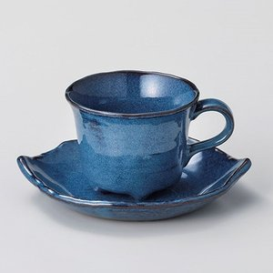 コーヒーカップ ソーサー おしゃれ 珈琲 ブルー木の葉 コーヒー碗皿セット 青 minopota