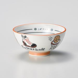飯碗 茶碗 おしゃれ ごはん バスケットボール 子供 キッズ 12cm ご飯 めし碗 丼 どんぶり ボウル 食器 陶器|minopota