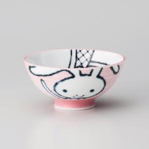 飯碗 茶碗 おしゃれ ごはん うさぎ 子供 キッズ 11.2cm ご飯 めし碗 丼 どんぶり ボウル 食器 陶器|minopota