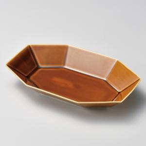深皿 カレー パスタ おしゃれ めん 浅鉢 ボウル カフェ アメ釉八角多用皿 26.5cm 食器 陶器|minopota