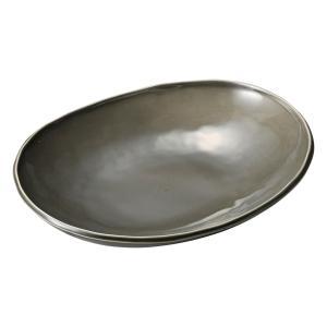 深皿 カレー パスタ おしゃれ めん 浅鉢 ボウル グレー 楕円鉢(M) 24.6cm 食器 陶器|minopota