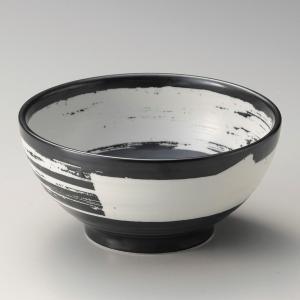 丼 どんぶり ボウル おしゃれ 黒釉刷毛目 18.8cm ラーメン うどん 麺 盛鉢 ボール 食器 陶器|minopota