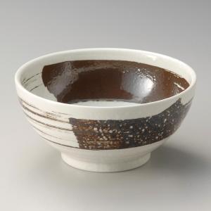 丼 どんぶり ボウル おしゃれ 粉引刷毛目 18.8cm ラーメン うどん 麺 盛鉢 ボール 食器 陶器|minopota