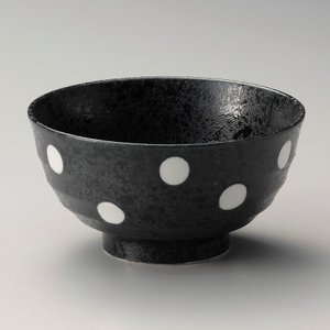 丼 どんぶり ボウル おしゃれ 黒結晶 ドット 17.2cm ラーメン うどん 麺 盛鉢 ボール 食器 陶器|minopota