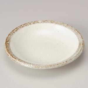 深皿 カレー パスタ おしゃれ めん 浅鉢 ボウル カフェ 渕サビ粉引 スープ 21.2cm 食器 陶器|minopota