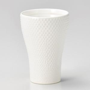 フリーカップ コップ 酒器 おしゃれ あられタンブラー 白 350cc 食器 陶器 タンブラー グラス|minopota