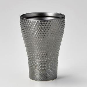 フリーカップ コップ 酒器 おしゃれ あられタンブラー 鉄黒 350cc 食器 陶器 タンブラー グラス|minopota