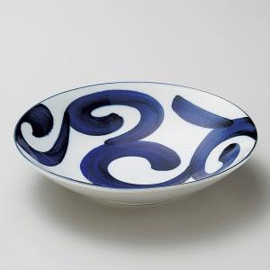 深皿 カレー パスタ おしゃれ めん 浅鉢 ボウル 鳴門唐草 21.5cm 食器 陶器|minopota